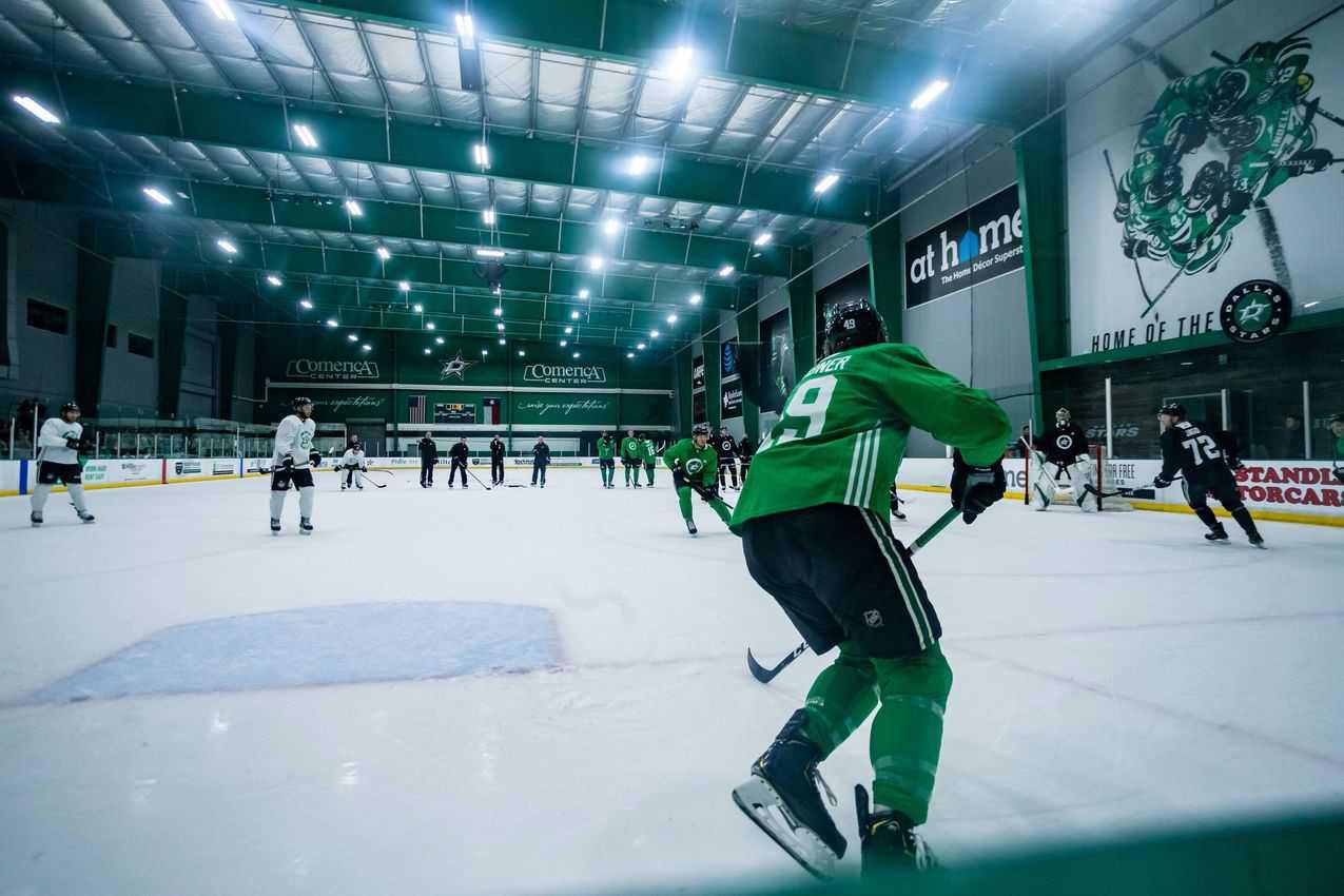 Dallas Stars practicing at Comerica Arena. courtesy VisitFrisco