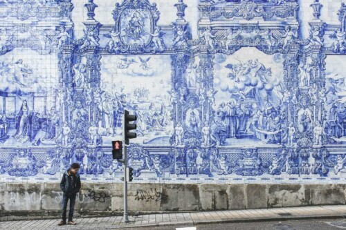 hand painted tiles on the wall in Porto