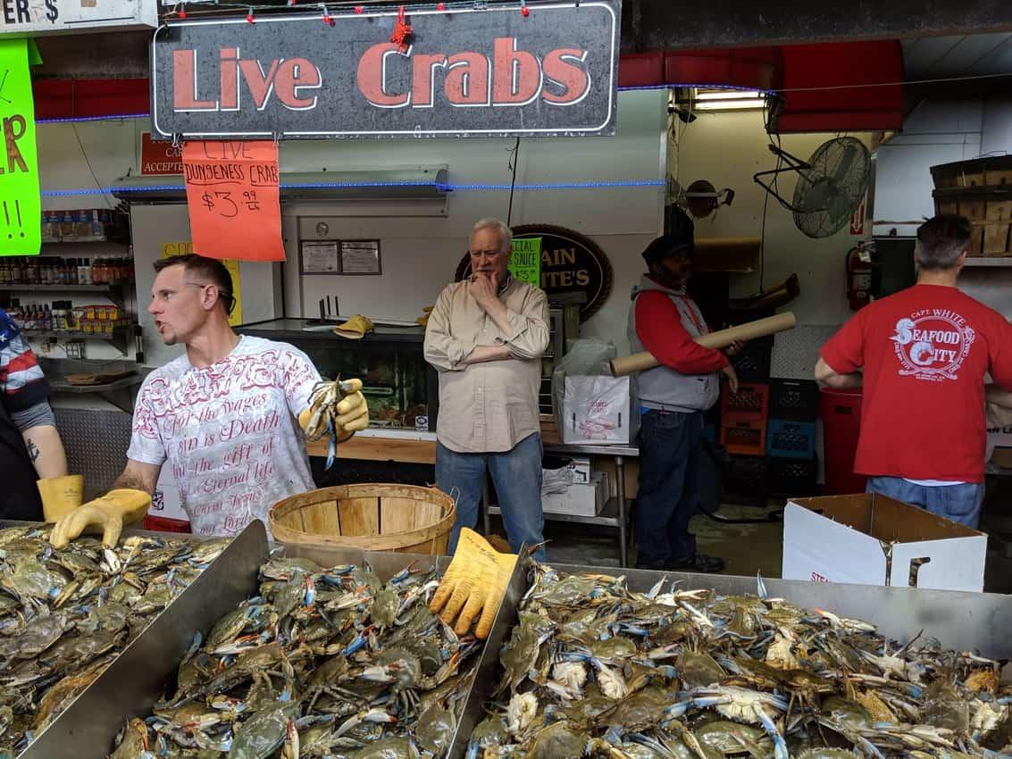 live crabs at Maine Avenue fish market in D.C.