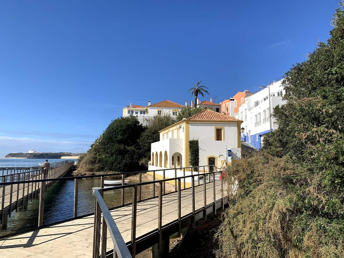 A special path along the river and town of Milfontes.
