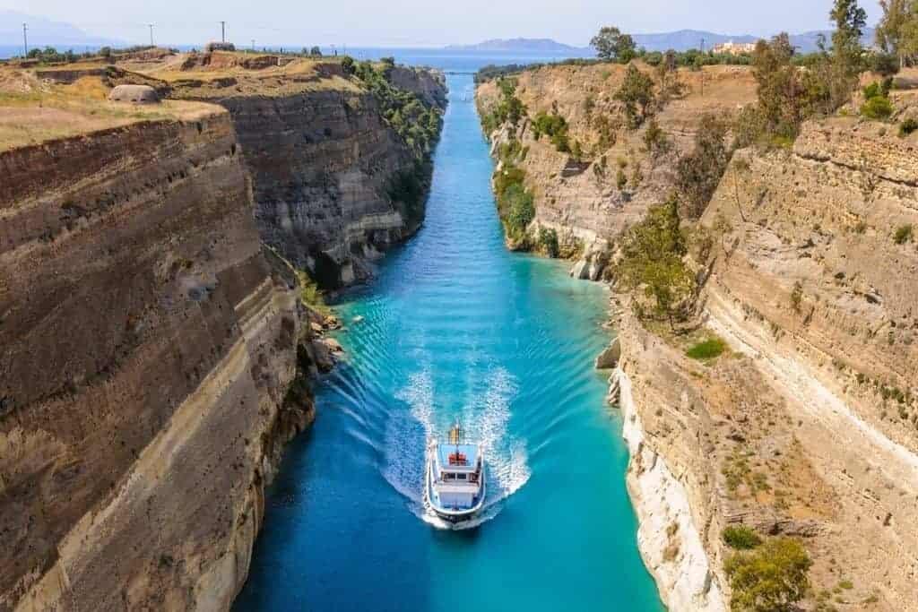 Corinth Canal ship Greece