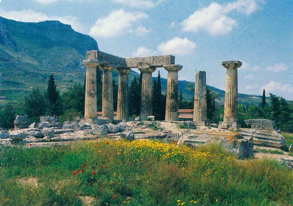 The Temple of Apollo in Corinth, Greece.