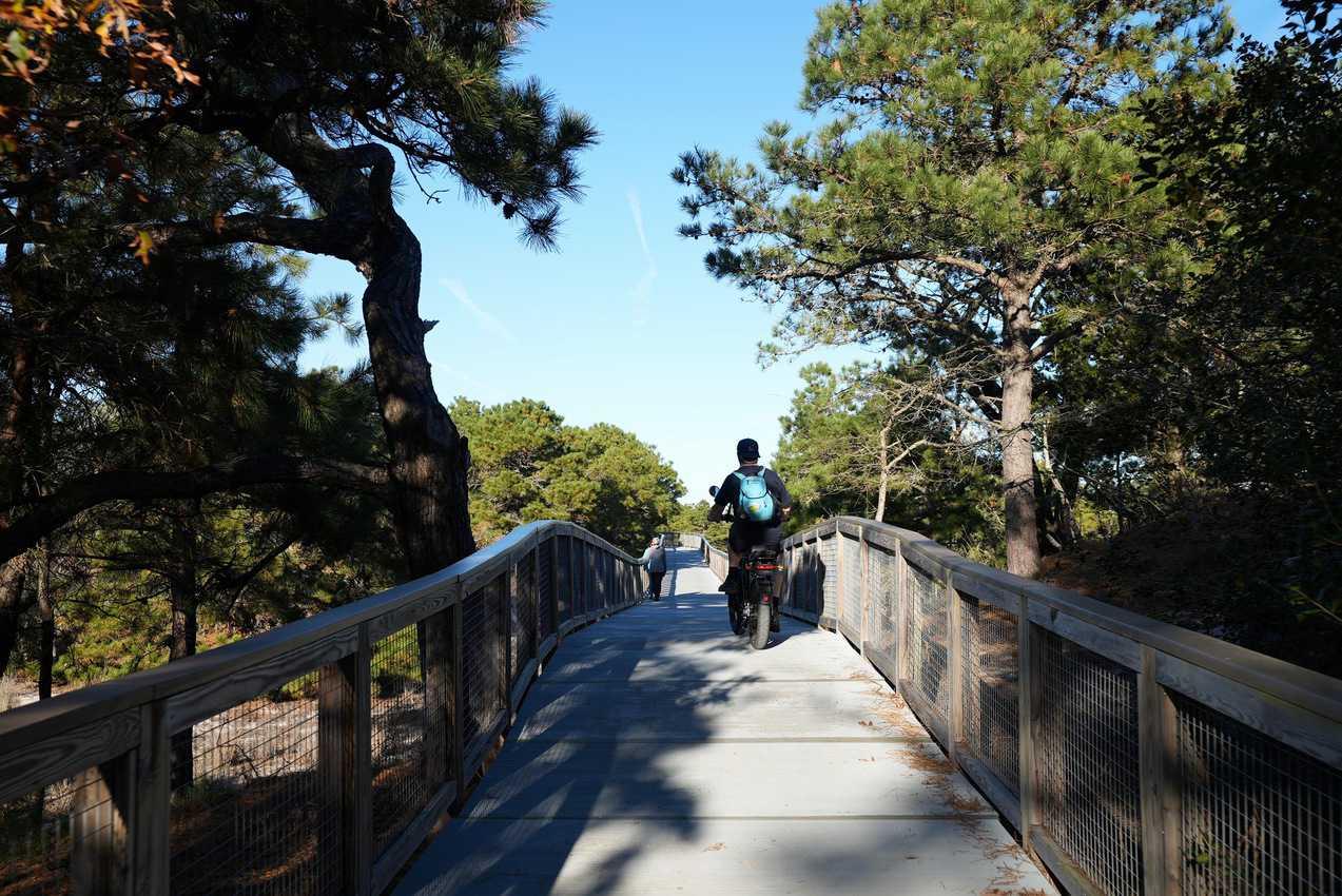 Bike the boardwalk at Cape Henlopen in Delaware