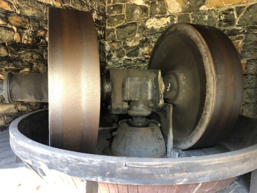 These giant wheels powered by water, ground up the three ingredients used to make black powder at Hagley.