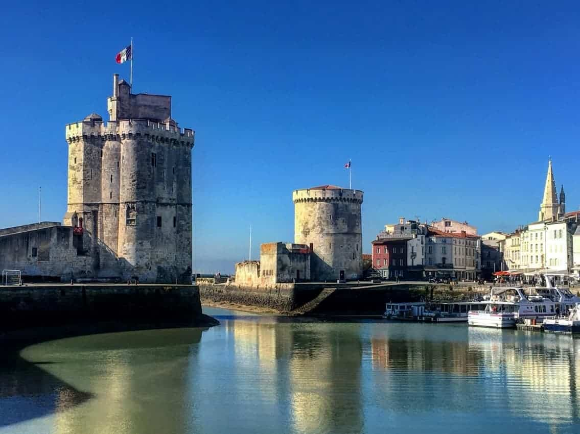 The fortified Harbor entrance of La Rochelle, France. Donald Grant photo.