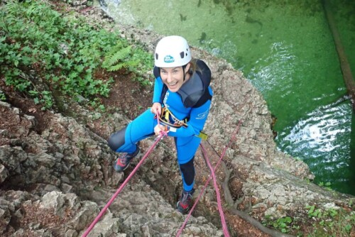 Excited to begin, abseiling into the canyoning in Slovenia. Photo by 3glav.com