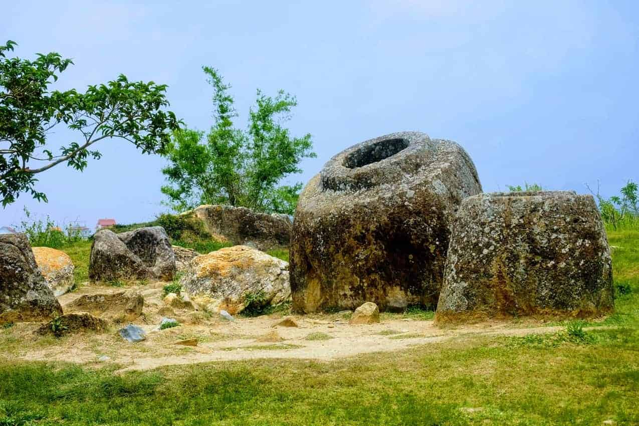 The Plain of Jars in Northern Laos. The jars were created by an Austro-Asiatic civilization and are thought to date from Southeast Asia's iron age, from 500 BC to AD 200.