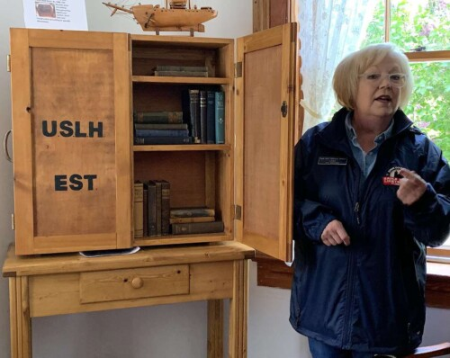 Books were delivered to the family in a wooden case. 'This was the first traveling library,' Linda Faust said.