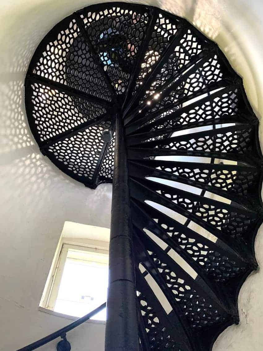 The cast iron spiral staircase has 55 steps to the lighthouse tower.