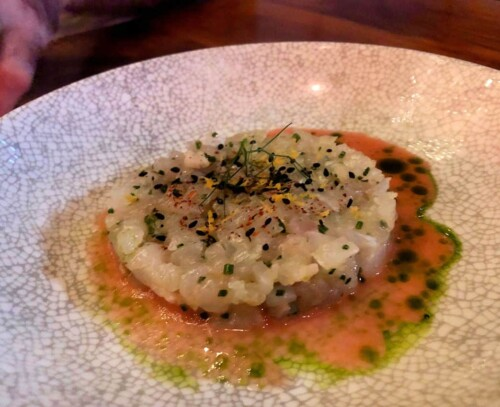 Madai snapper tartare blood orange, fennel at Bardea Food and Drink Wilmington DE