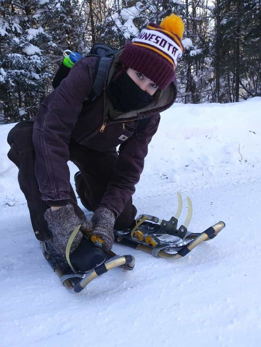 donning snowshoes