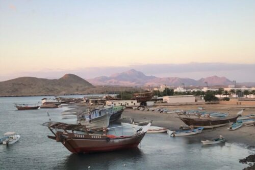 fishing and traditional dhow boats situated in the coastal town of Sur