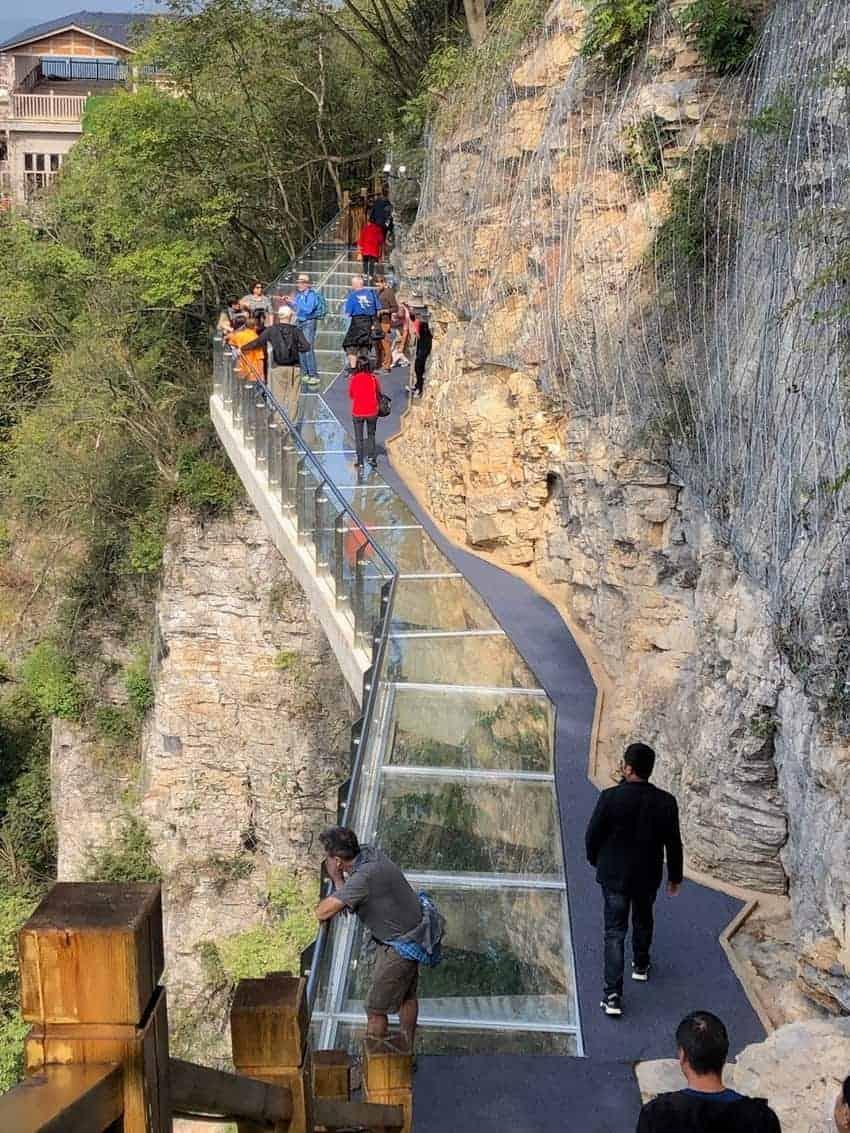 The famous mountainside glass walkways in Zhangjaijie China. Max Harshorne photos