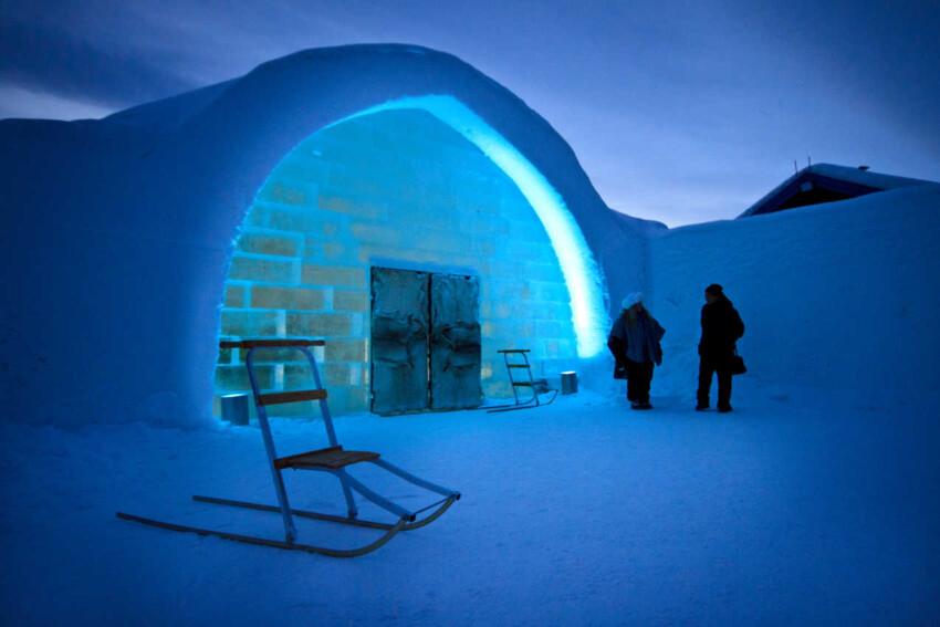 The entrance to the famous Ice Hotel in Jukkasjaervi.