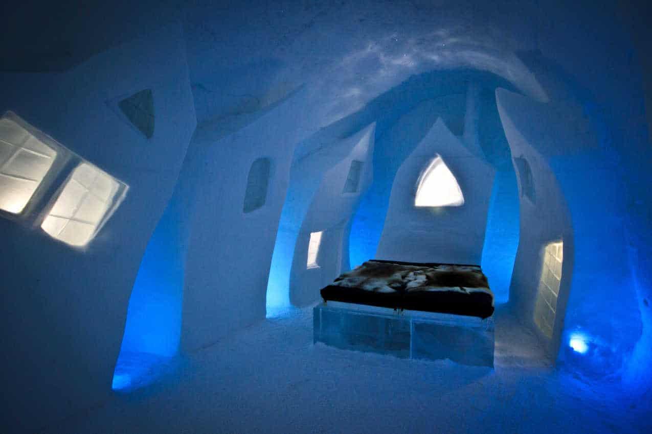 Inside the famous Ice Hotel in Jukkasjaervi, Sweden.