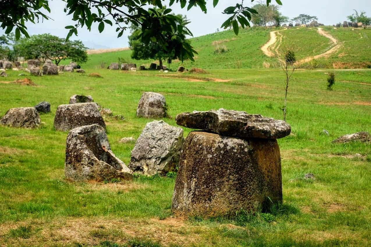 Jar with lid at jar site 1, Plain of Jars, Laos