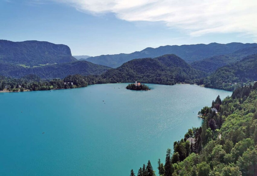 Lake Bled as seen from the top of Bled Castle in Slovenia.