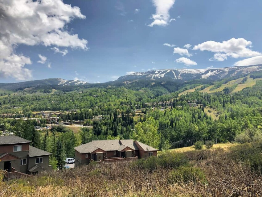Driving along Elk Creek Road up to Snowmass Base Camp.