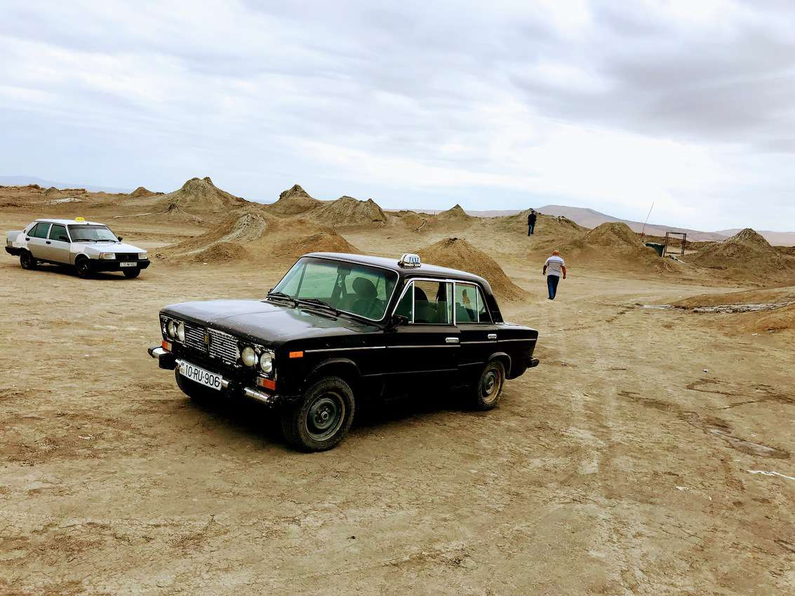 The Russian Lada taxi that trekked across the desert to take us to the Gobustan mud volcanoes just outside the city.
