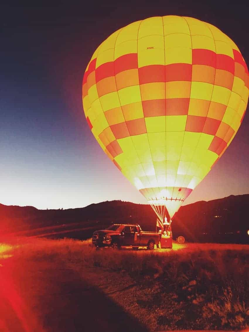 A balloon aglow during the Night Glow at the Snowmass Balloon Festival in Colorado.