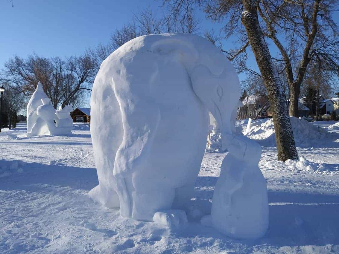 snow sculptures in Ely, Minnesota.
