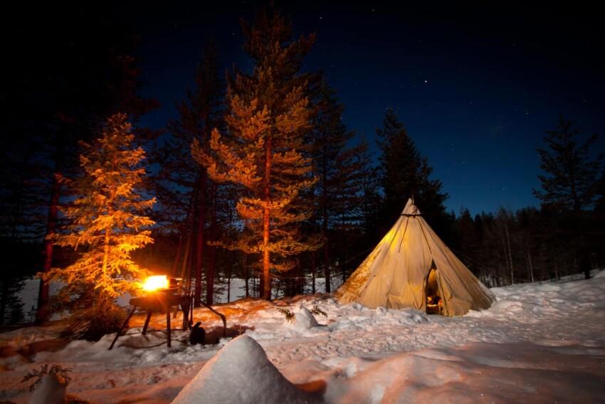 Jokkmokk/Sweden - Our beloved teepee - at -20 centigrades, somewhere in the Swedish wilderness