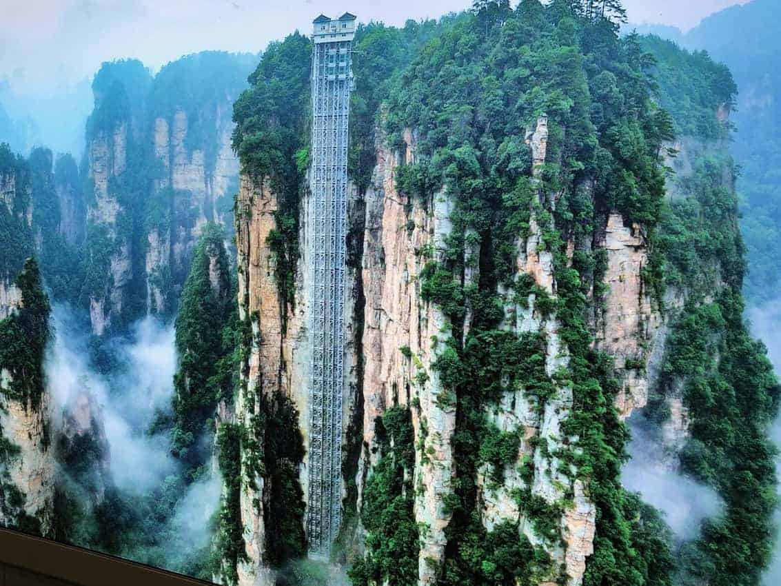 The world's tallest elevator goes up the side of a cliff in Zhangjeije, China.