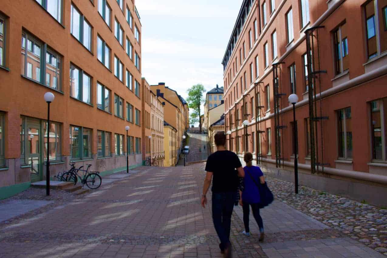 Walking the streets in Uppsala, Sweden.