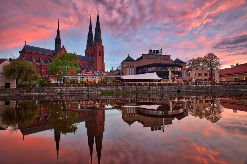 The #1 best place to see the Uppsala Cathedral, especially during the sunset.