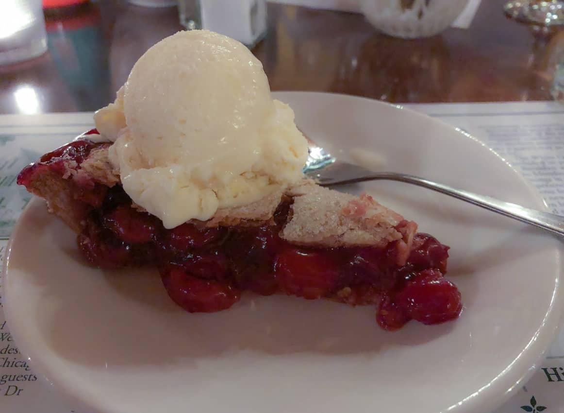 Cherry pie à la mode is included with the fish boil dinner at White Gull Inn.