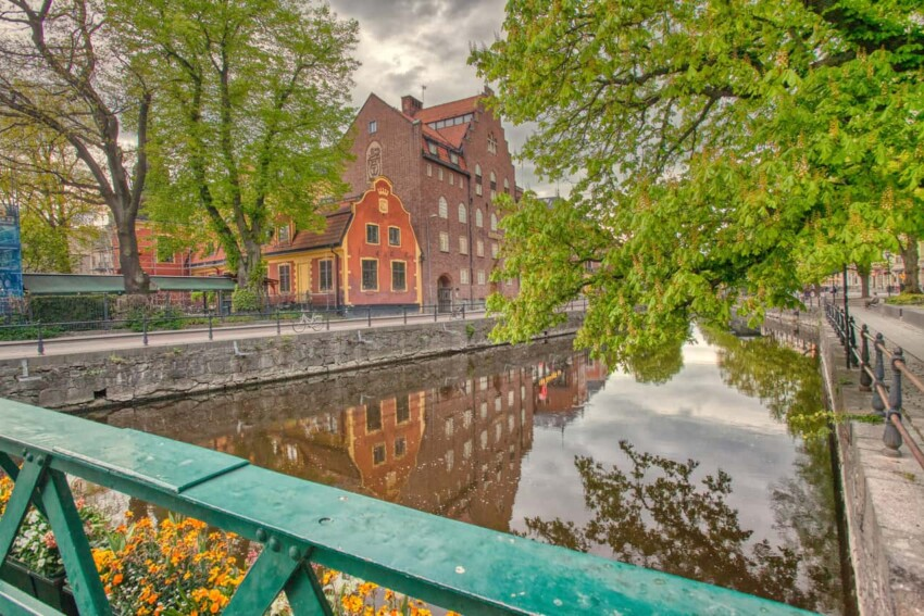 The tree-lined Fyris river is a popular place for locals and tourists alike in Upssala, especially in the summer