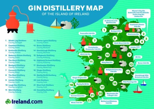 Gin Distillery Map of Ireland