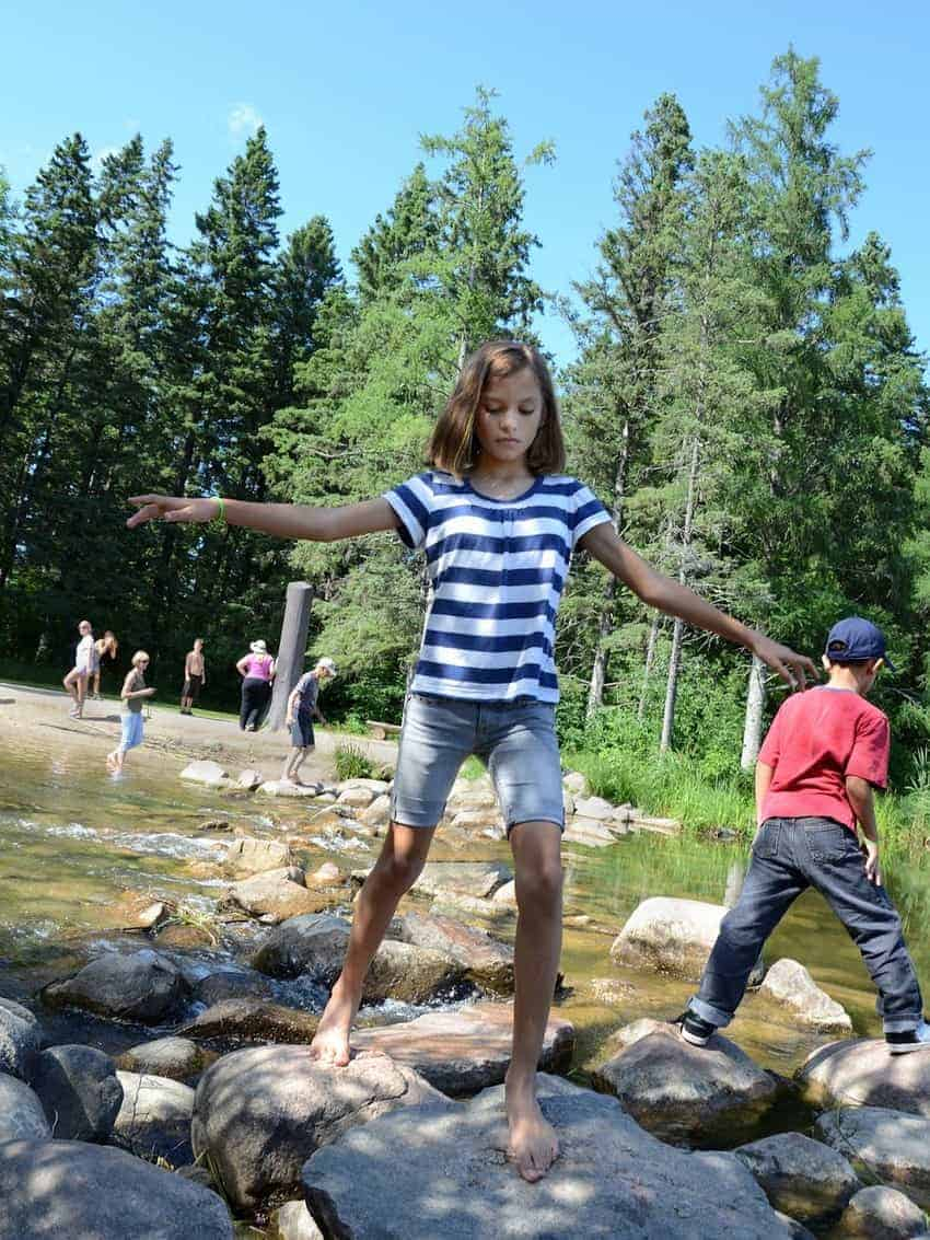 Playing on the rocks on Minnesota's Lake Itasca.