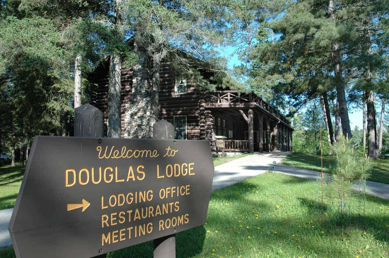 Douglas Lodge offers dining and meeting rooms at the lake.