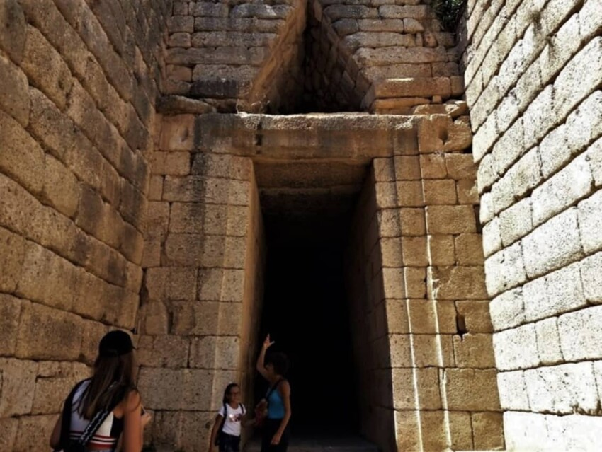 Outside the tomb in Mycenae.