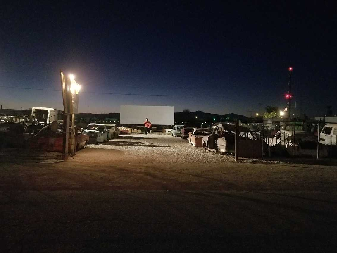 The eery drive-in theater with old dead cars in Bombay Beach.