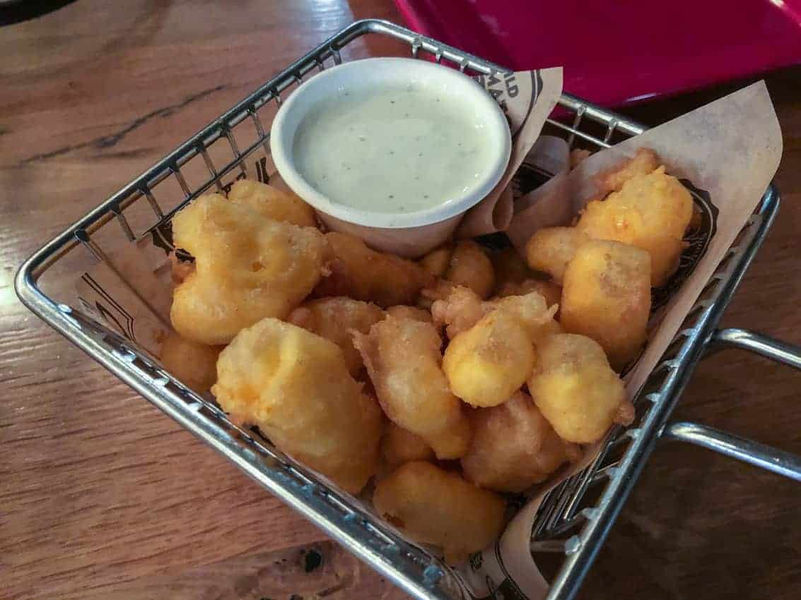 A standard on menus throughout Door County are cheese curds, deep fried and served with ranch dressing. Yummy!