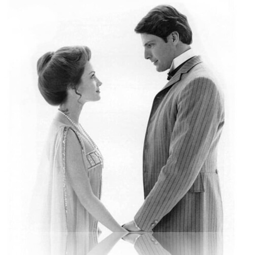 Jane Seymour and Christopher Reeve, in the movie poster for Somewhere in Time.