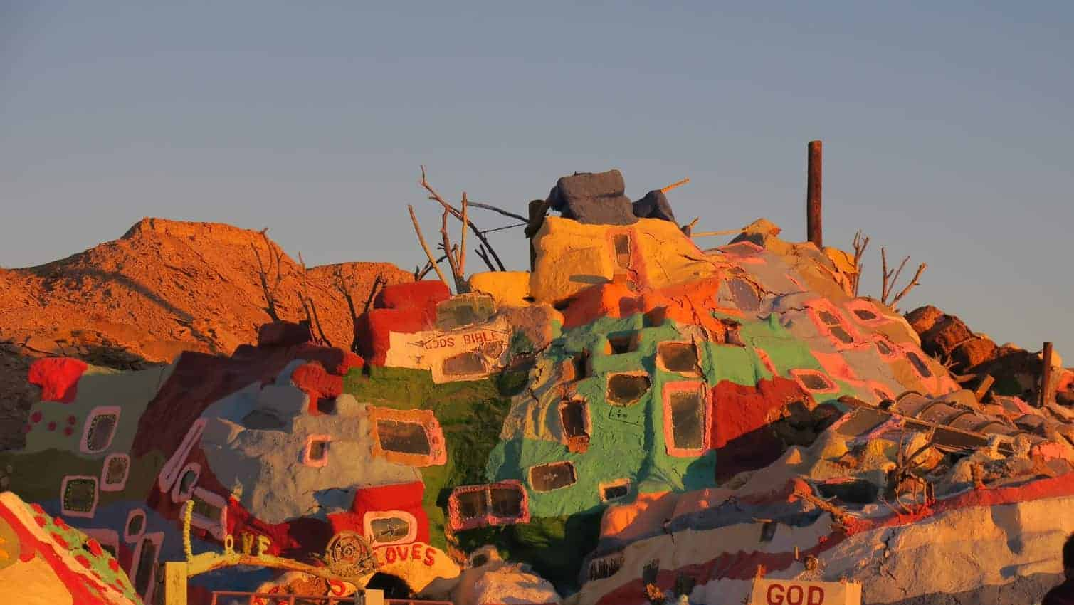 The painted rocks of slab city near the Salton Sea, California.