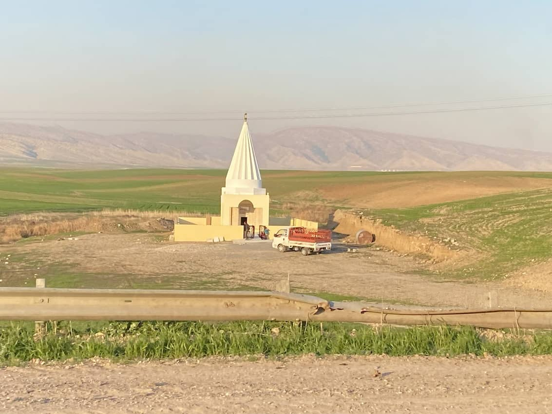 A Yazidi temple is normally built either atop a hill or on flat ground at a sacred location.