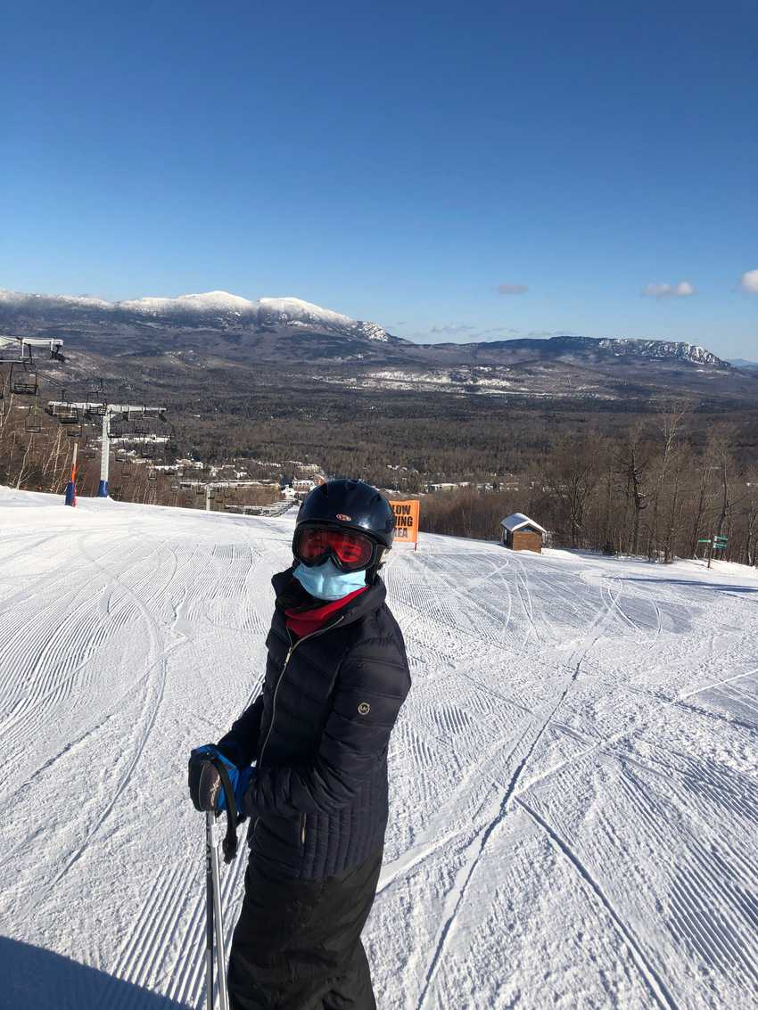 Sofie Cosme is a new skier who enjoyed the wide open Broadway slope at Sugarloaf.