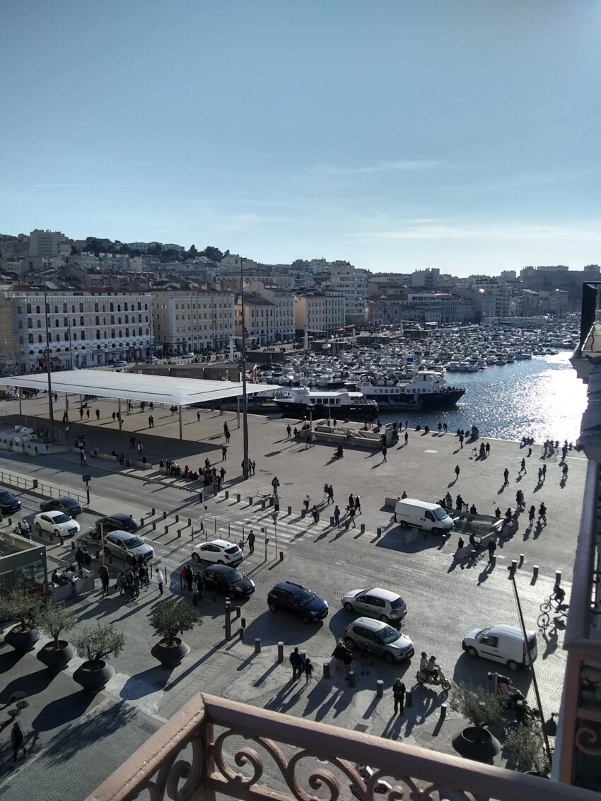 Marseilles Old Port bustling before the close down in March 2020.