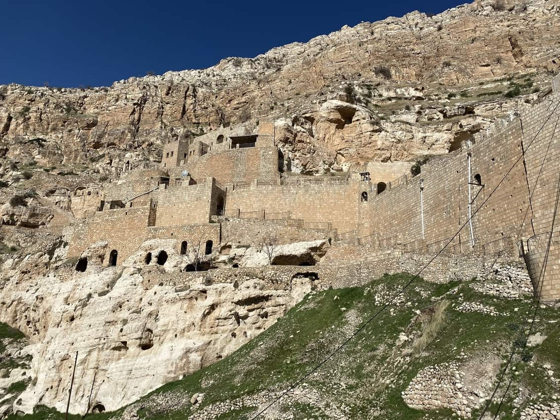 The Rabban Hormizd monastery was carved into a mountainside, and overlooks the town of Alqosh in Kurdistan/