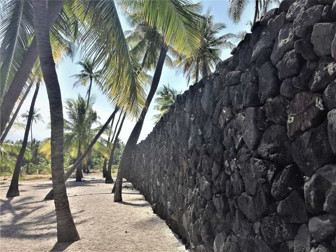 Puʻuhonua o Hōnaunau, Kona, Hawaii Big Island has a 965-foot-long wall that protected the sanctuary. Anyone who had broken Kapu, the scared laws of ancient Hawaii, would be given forgiveness if they could fight their way into these walls.
