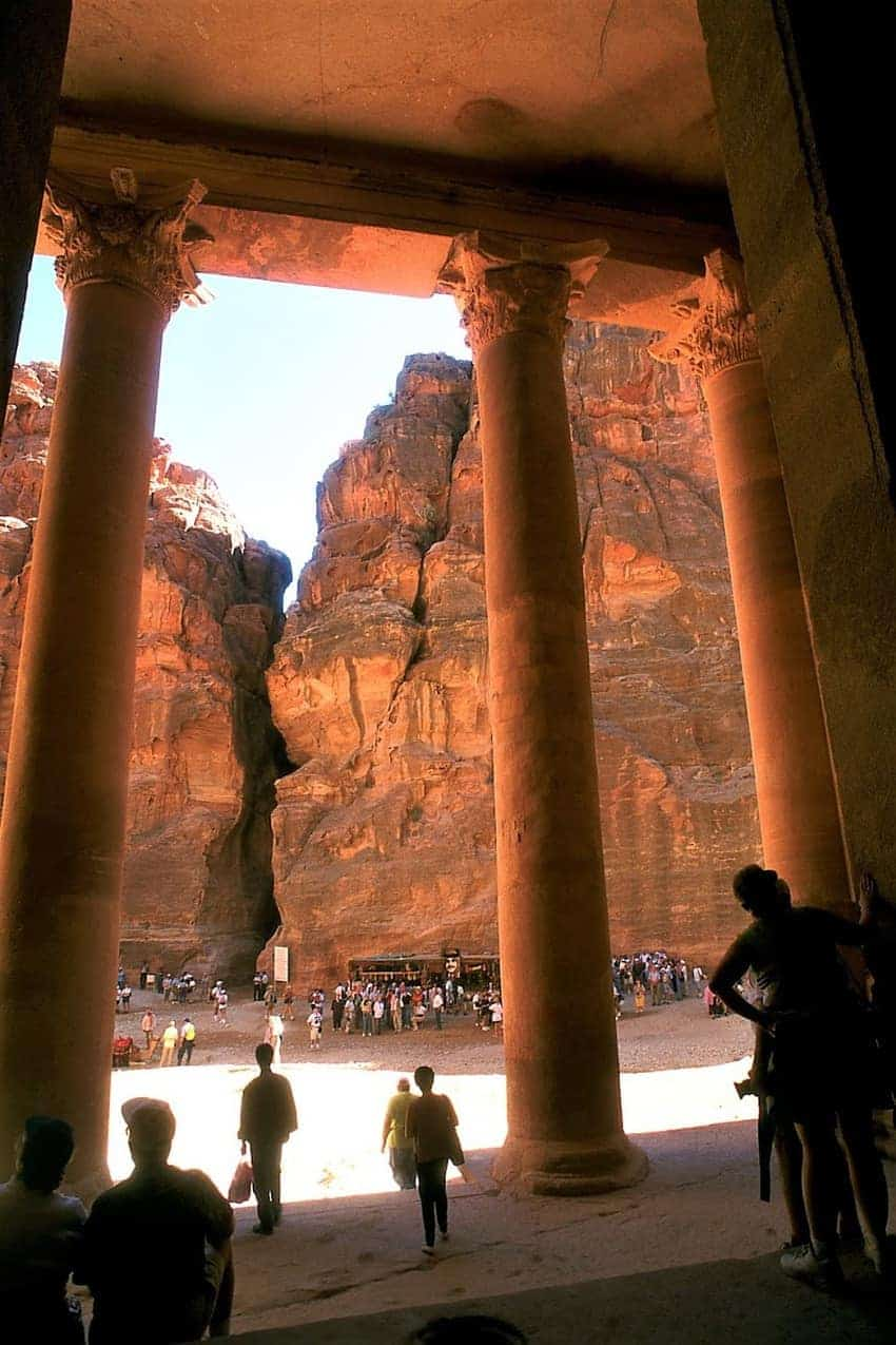 From the interior of the Treasury building in Petra, you can see the narrow, two-camel wide cleft in the rock wall that is the only entrance to Petra on the eastern side.