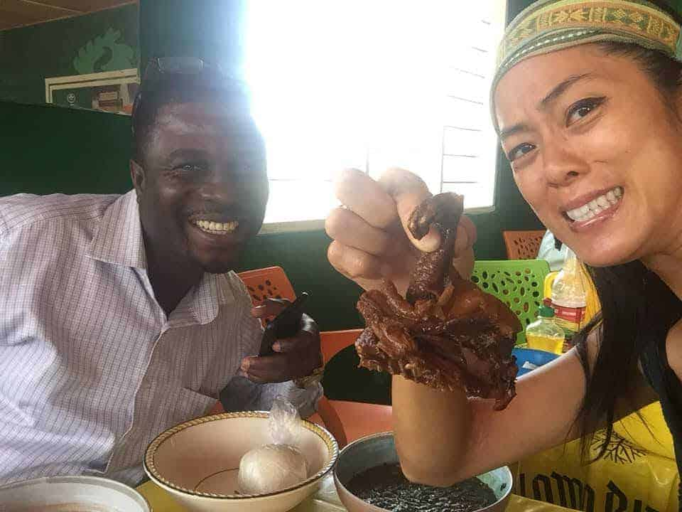 My friend took me out to try bush rat meat at a local chop bar. While the rest of the meat was hidden in a thick red sauce, the paws were clear, identifying markers of the type and size of the animal we were ingesting.