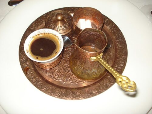 Turkish coffee set (Bosnian version) containing a cup of coffee, a coffee pot and a sugar bowl - served in Medjimurje County, Croatia. Silverije photo.