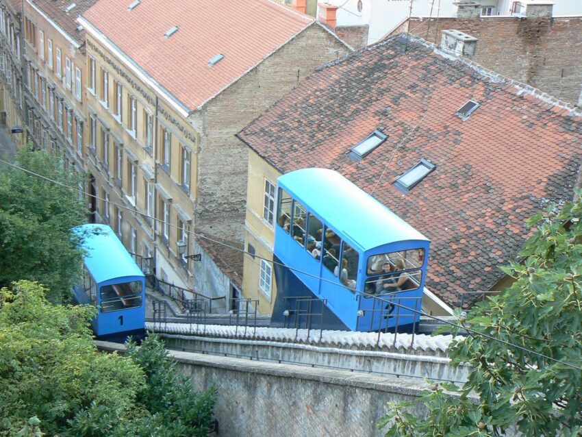 Funicular to get to the high part of the city Zagreb. Max Hartshorne photo.