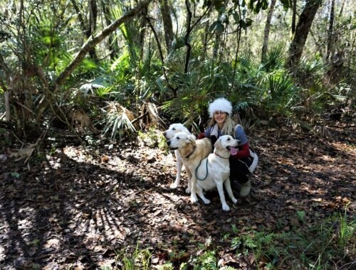 Dogs are welcome on the trails at 7 Creeks too. Nancy Moreland photo.