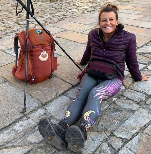 Stacy Eull of Minneapolis celebrates the end of her pilgrimage.